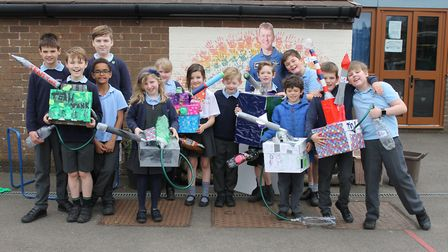 Rocket-building at St Mary's Primary School, in Portbury.