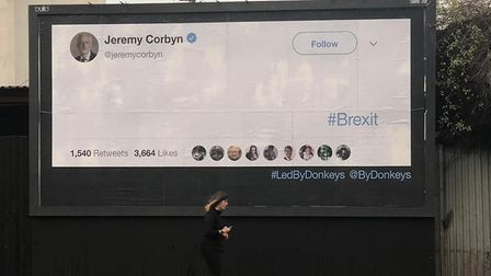 Led by Donkeys billboard featuring a blank tweet in Jeremy Corbyn's Islington North constituency in