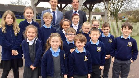 Dean Hudd with John Wells and Mary Elton Primary School pupils.