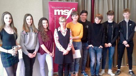 Clevedon School's winners at the Mid-Somerset Festival.