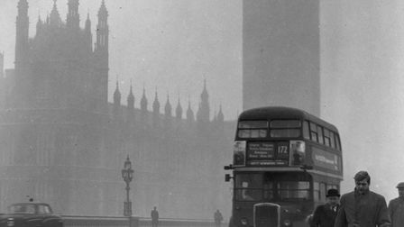 January 1970: A view of the fog bound Houses of Parliament and 'Big Ben' from Westminster Bridge.