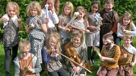 Hannah More Infants School, pupils and staff in Stone Age costume.