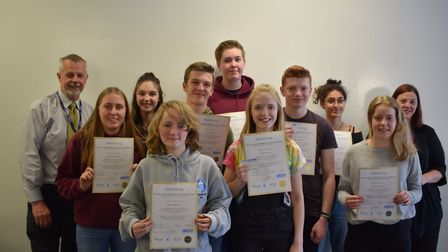 Nailsea sixth form students with their first aid certificates.