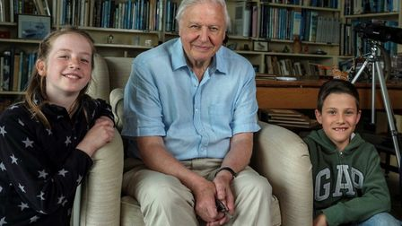 Lizzie Dudly and Jake Williams with Sir David Attenborough.