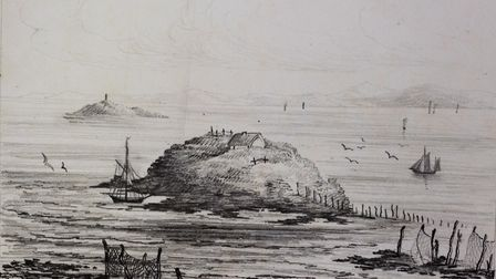 A sketch of Birnbeck Island before the pier was built in around 1826. The gull yeller's cottage can