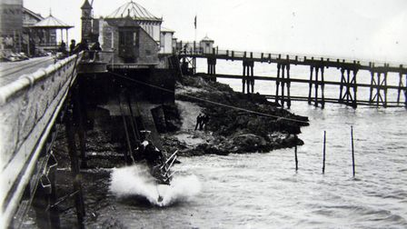 The 1881 Lifeboat Station with a launch taking place the lifeboat was oared).