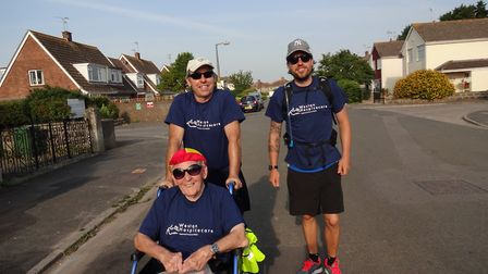 Marcus, Steve and Garry Eastman setting off on their memory marathon.