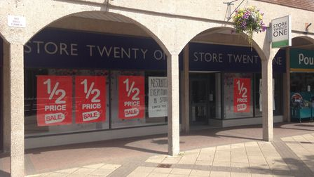 The empty Store Twenty One store in Somerset Square, Nailsea.