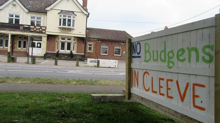 The protest boards opposite the pub. Picture: Nick Page Hayman