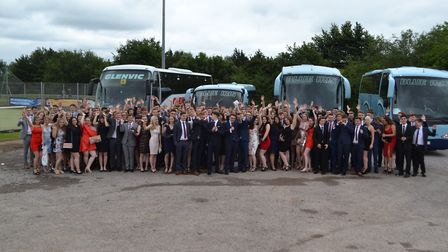 Students pose before boarding their buses for Doubletree By Hilton, Cadbury House. Picture: Eleanor