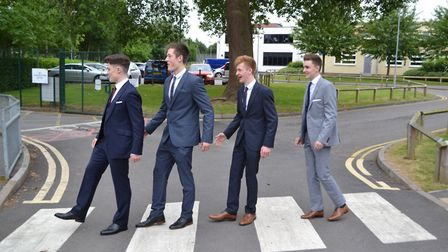 A group of boys from Gordano School, in Portishead, try to recreate the Beatles famous album front c