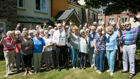 Grange Lodge manager Paul Dyer-Geddes and residents.
