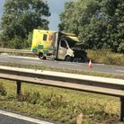 Dawn Ellis took this photo of an ambulance that caught fire on the M5.