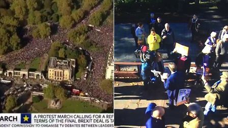 The scene of the last marches broadcasted on Sky News as People's Vote campaigners protest in London