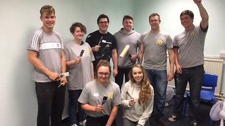 McDonald's staff from its Portishead brach with decorating materials at Gordano School.