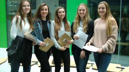 Juliet Labrum, Chloe Harris, Ellen Broderick, Laura Stephen and Nina Davies opening their results at