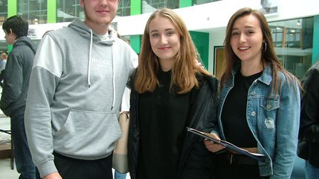 Nailsea students Ben Tooth, Kayleigh Hewetson and Chloe Harris openining their GCSE results together
