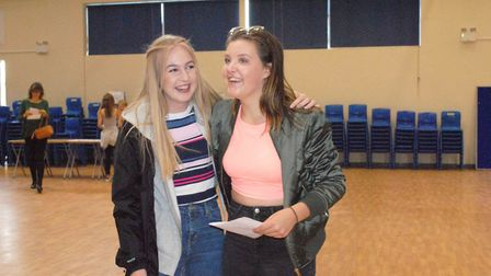 Jennifer and Molly after collecting their results.
