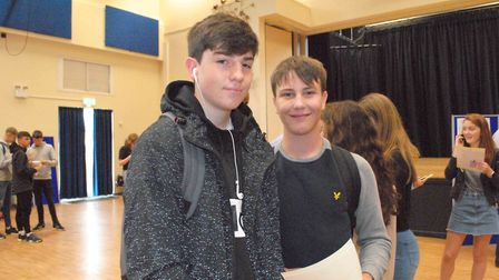 Cody and Jonny collecting their GCSE results.