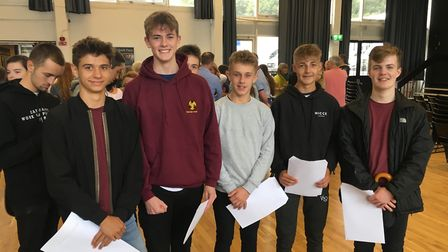 Clevedon School students with their GCSE results.