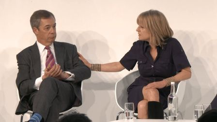Nigel Farage and Rachel Johnson at a conference. Photograph: Euronews.