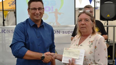 Jackie Williams from Kewstoke Youth and Community Farm received a cheque at the Go Kids Go! presenta