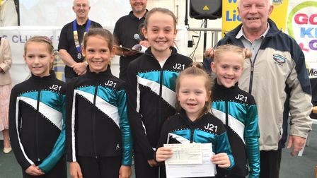 J21 Gymnastics Club received a cheque at the Go Kids Go! presentation. Picture: Eleanor Young