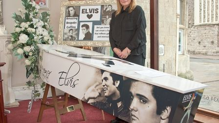 Tracey with her Elvis coffin at Howard Goodman Funeral Directors.