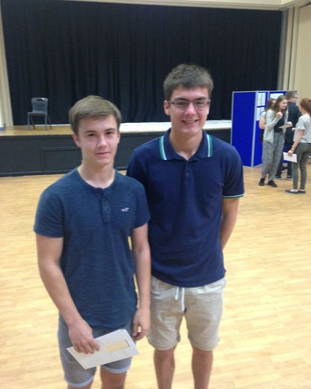 Jack Bowen and Sam Thomas after receiving their A-level grades.