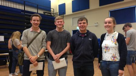 Jonny Warrelow, who is off to Lancaster University, Joe Painter and Christopher Gough, who are both