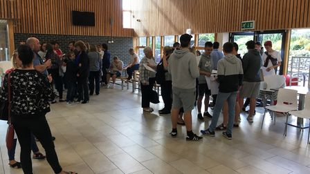 St Katherine's School pupils receiving their results.
