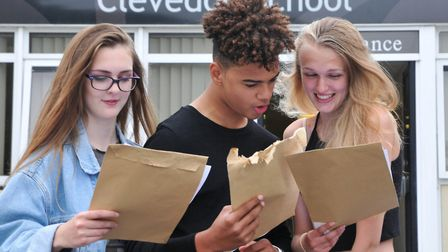 Hannah Price, Gabriel Jones and Lucy Bushrod at Clevedon School GCSE results day. Picture: Jeremy Lo