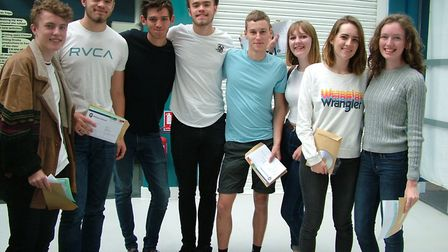 Students from Nailsea School opening their A-level results.