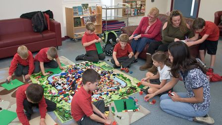Yatton Library's Lego club, in the newly redecorated and refurbished building.