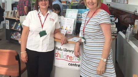 Nicki Bobbette and Nicky Stead at the library and children's centre.