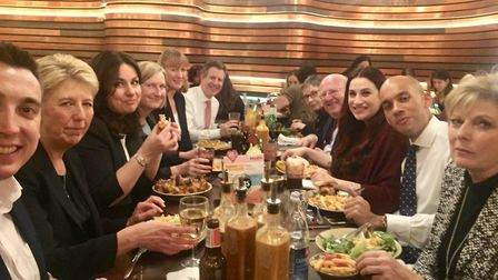 CHICKEN COUP: The Independent Group's get-together at Nando's. Contributed photo.