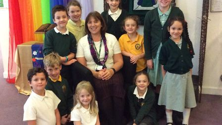 Karen Sancto with pupils of Trinity Primary School on her final day. Picture: Emma O'Brien.
