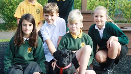Luna the dog with pupils from Trinity Primary School in Portishead. Picture: Tracey Fowler