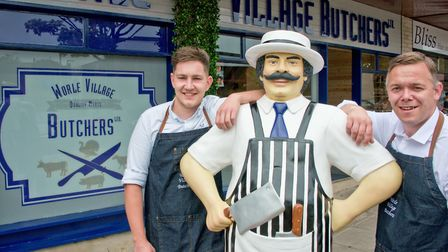 Mike Vowles and Nick Wynn with mascot 'Barry the butcher'.