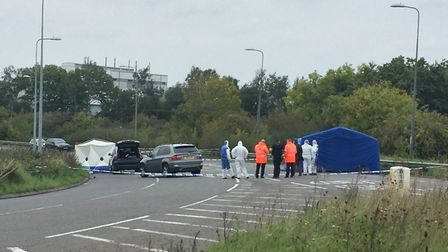 The scene on the A369 in Portishead. Picture: Claire Hayhurst/PA Wire