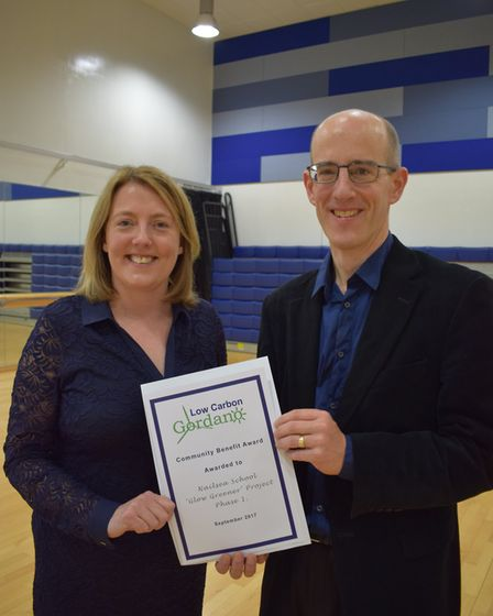 Nailsea School headteacher Dee Elliott with Low Carbon Gordano director Steve Cayzer.