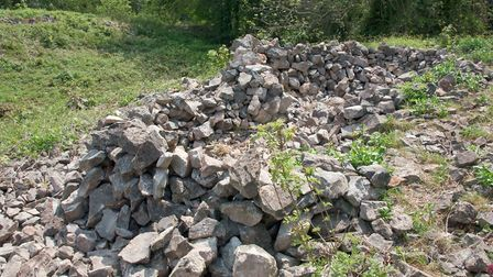 Some of the iron age stone work that has been disturbed.