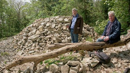 William Fraher and John Martel from Worlebury Hill Fort Group with some of the iron age stone work t