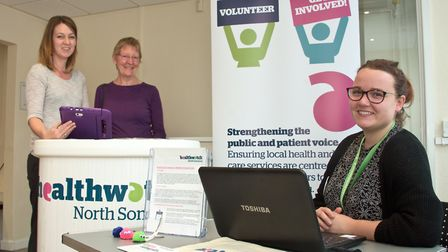 Healthwatch representative Maisy Griffiths with Emma Herriot from the town council and volunteer She