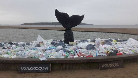 The whale art installation was created by WormWood Rocks using plastic collected on Weston's beach.