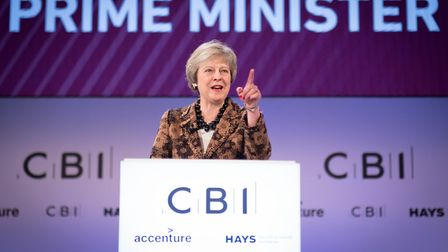 Prime Minister Theresa May speaking at the CBI annual conference. Photograph: Stefan Rousseau/PA.