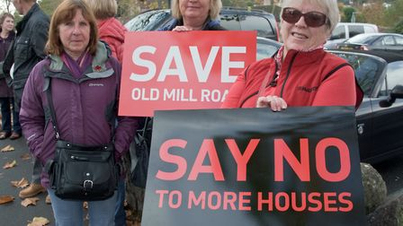 Protestors are angry at plans for 350 new flats.