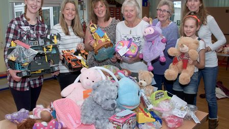 High Down Infant School PSA members with some of the toys for sale.