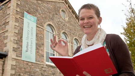 Heidi Hollis outside Yatton Library. She is launching a monthly spoken word event.