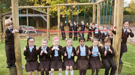 Pupils give their stamp of approval to the new play equipment at St Francis Primary School, Nailsea.
